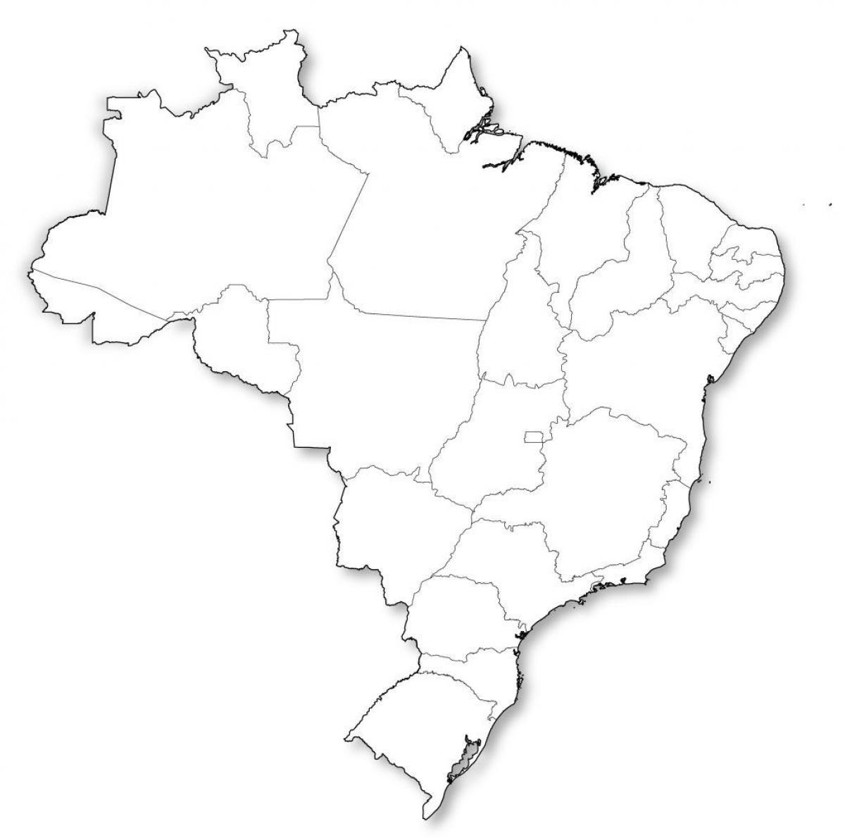 Carte Muette Bresil.Carte Vierge Amerique Latine