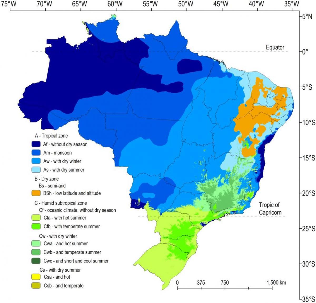 Carte Climat Bresil.Le Bresil Carte Climatique Climat De La Carte Du Bresil
