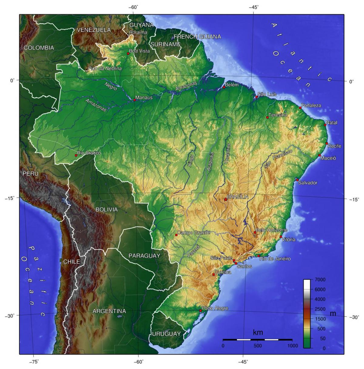 Carte Topographique Amerique Du Sud.Le Bresil Topographique Carte Topographique Carte Du Bresil